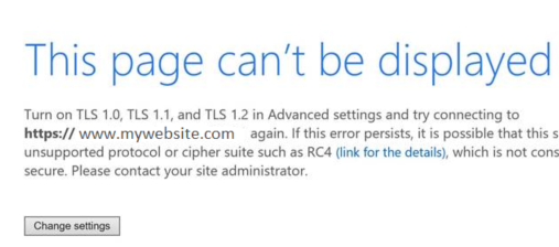 Troubleshooting : Turn on TLS 1.0, TLS 1.1, and TLS 1.2 in advanced settings